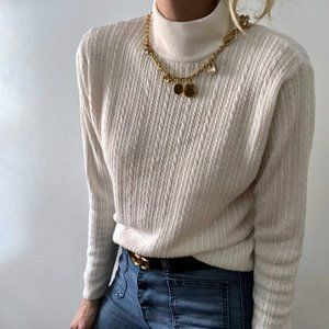 Vintage Tops - Vintage Boxy Mock Neck Cable Knit Pullover